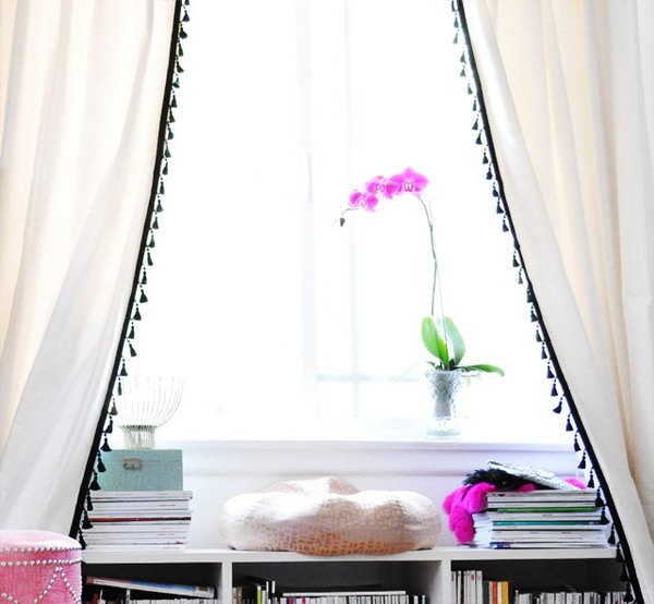 Dress up White IKEA Curtain with Tassel Fringe. Get more details