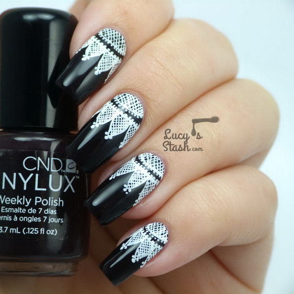 Goth Lace Nail Art. See more details