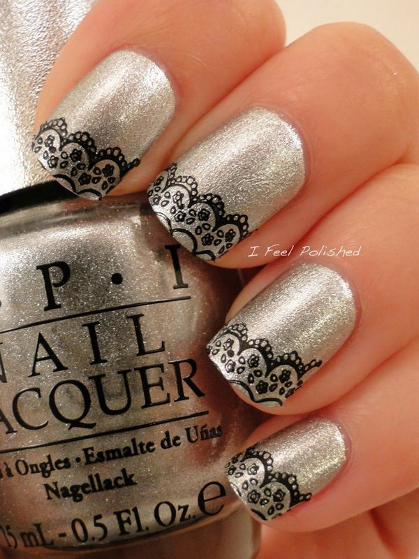 Silver Nails with Delicate Black Lace. Get the tutorial