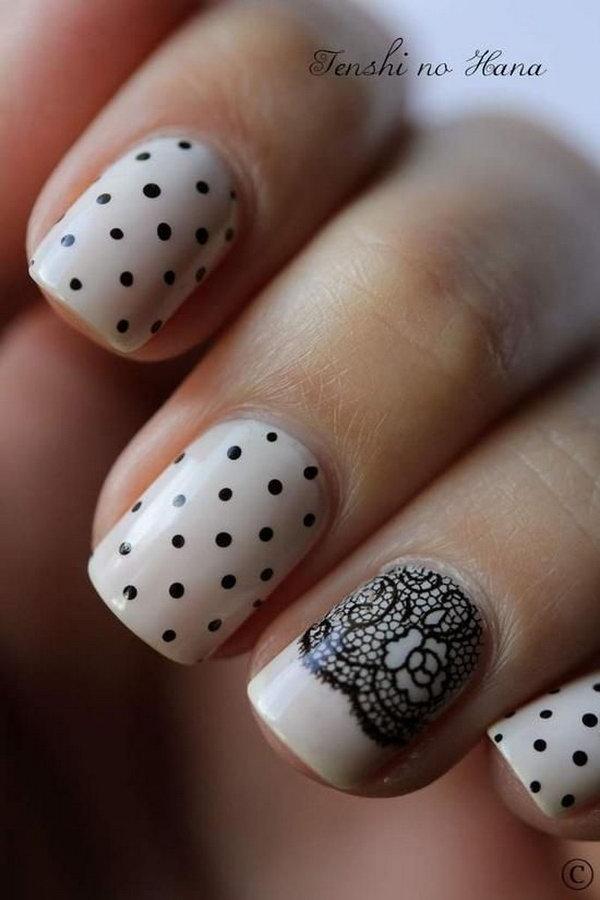 Lace Nail Art Idea With Polka Dots.