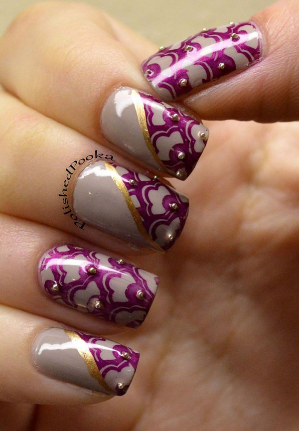 Purple Lace with Bead Accent Nails.