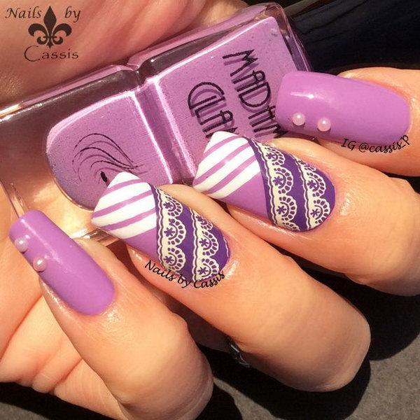 Purple Stripe Lace Nail Art. Get more details
