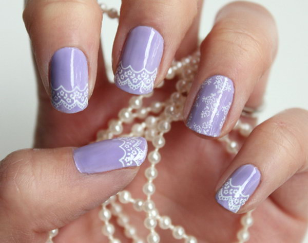 Purple and White Lace Nails. Get the tutorial