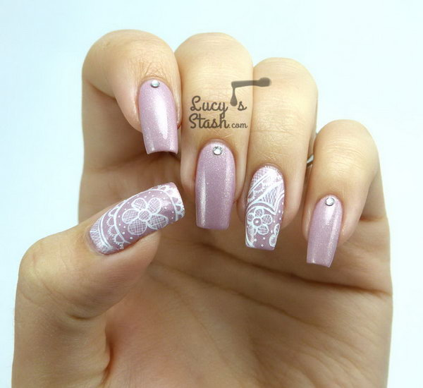 Romantic Freehand Lace Nail Art.