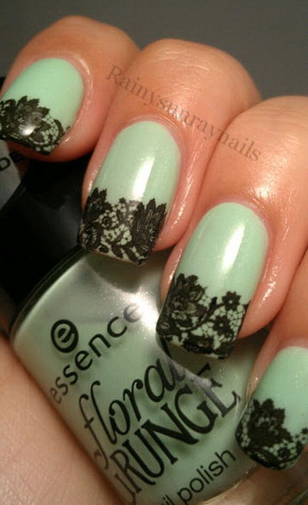 Turquoise Base and Black Lace Nails. See more directions