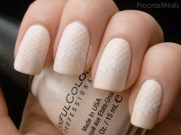 Delicate Lace Stamping Nail Design. See more instrutions