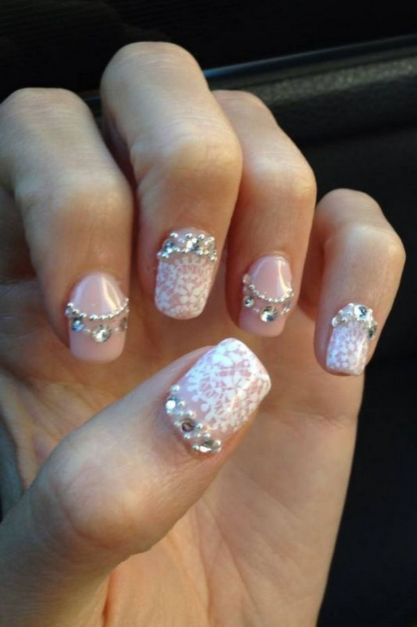 Pink Nails with a Bit of Lace and Gems.