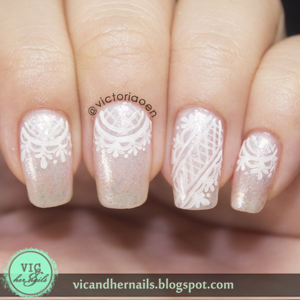 Pink Base with White Lace Nails. See more details