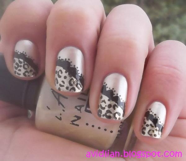 Cheetah and Lace Nails.