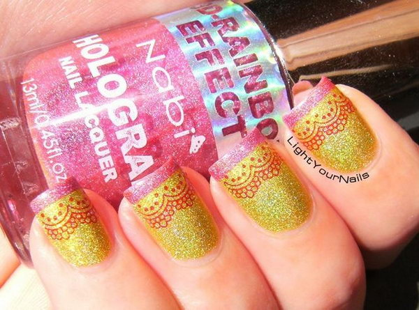 Bright Holographic French Mani with Romantic Laces.
