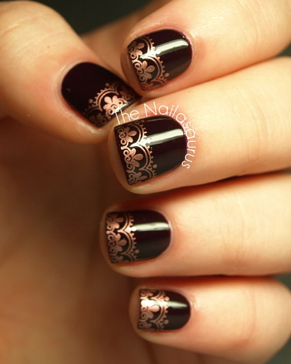 Copper Lace Tip Nail Design. See more details