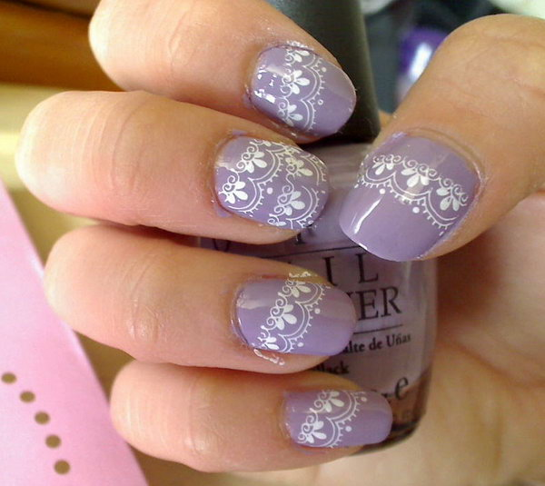 Purple Nails with White Lace Accent.