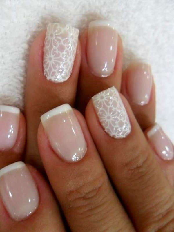 Nude and White Lace Nails.