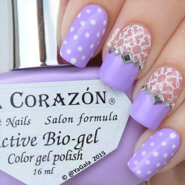 Feminine Lace and Dots Purple Nail Art.