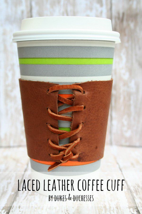 Laced Leather Coffee Cuff. Get the steps