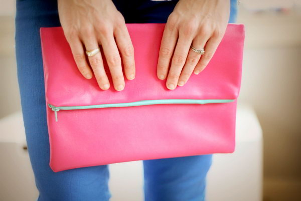 DIY Leather Fold Over Clutch. Check out the steps