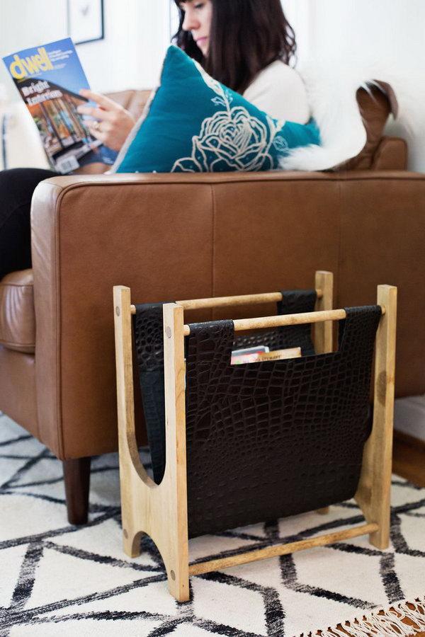 DIY Wood Leather Magazine Holder. Get the steps