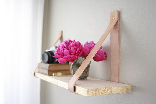 DIY Suspended Shelf with Leather. Get more directions