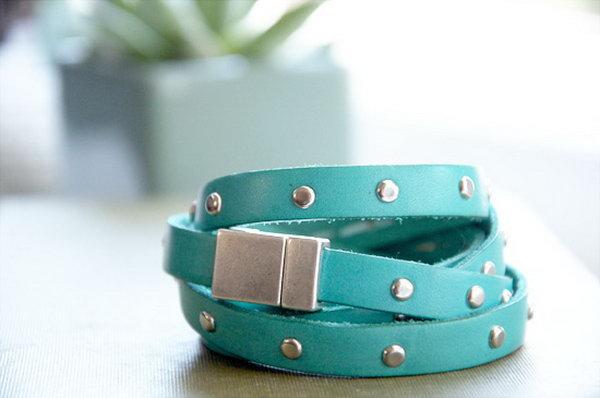 DIY Leather Studded Bracelet. Get the directions