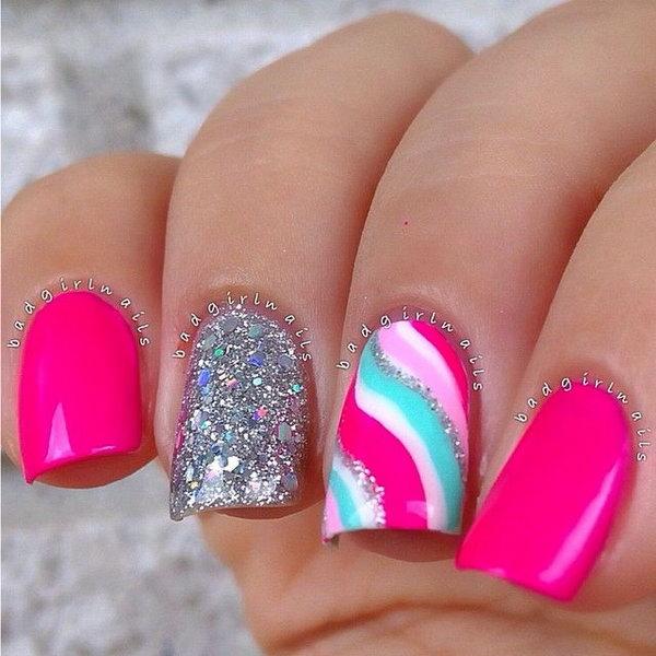 Silver Glitter Neon Nails.