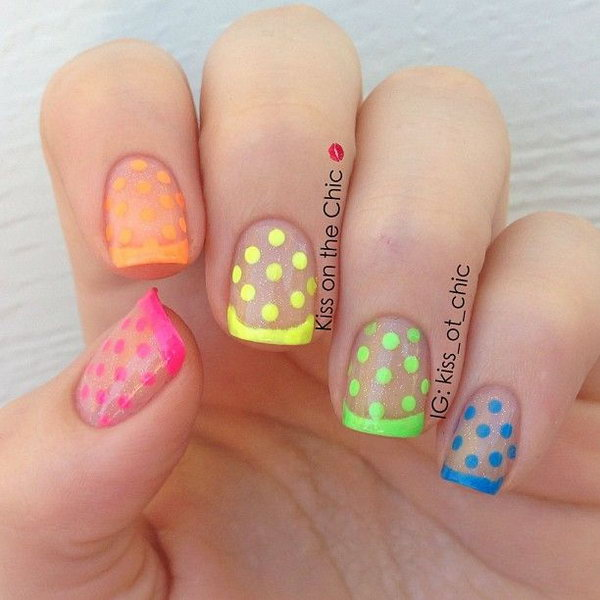 Neon French and Polka Dots Nails with Clear Glitter.