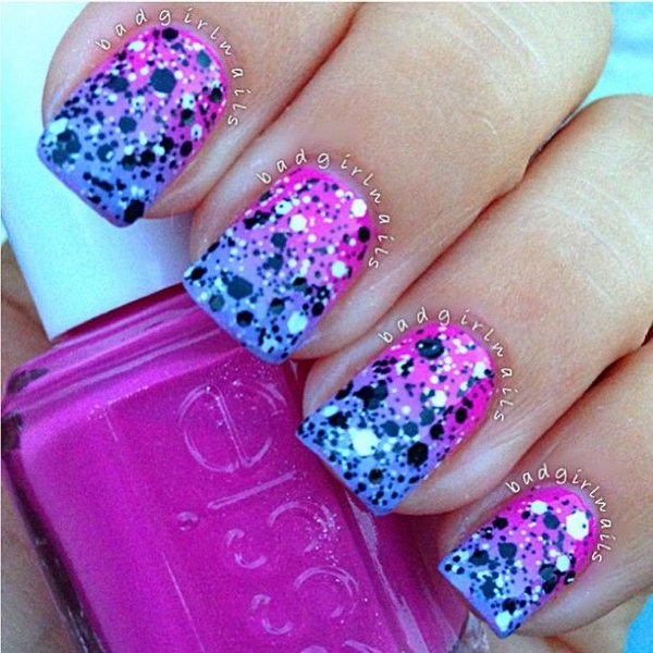 Ombré Nails with Neons and Glitter.