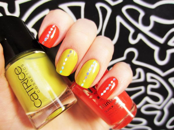 Two Color Neon Nails.