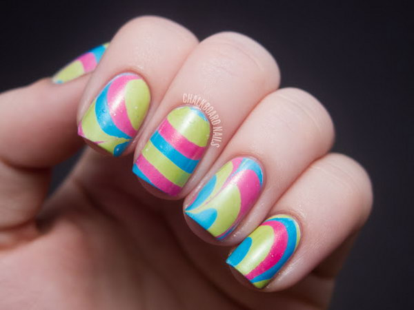 Water Marble Neon Nails. See the tutorial