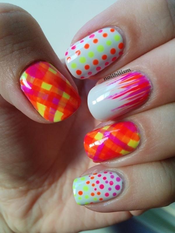 Dots and Tartan Neon Nails.