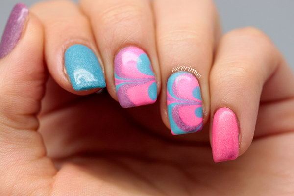 Neon Holo Water Marble Nails. See the tutorial