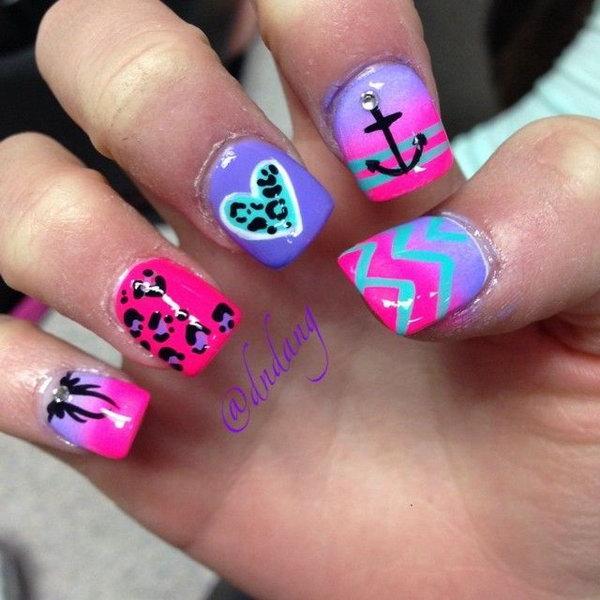 Anchor and Heart Neon Nail Designs.