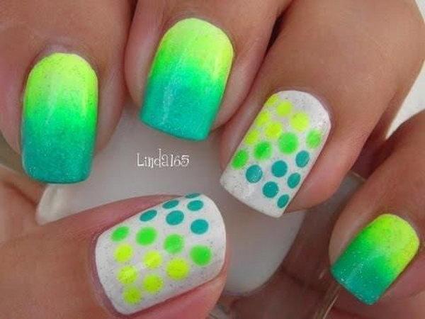 Dots Themed Neon Nails.