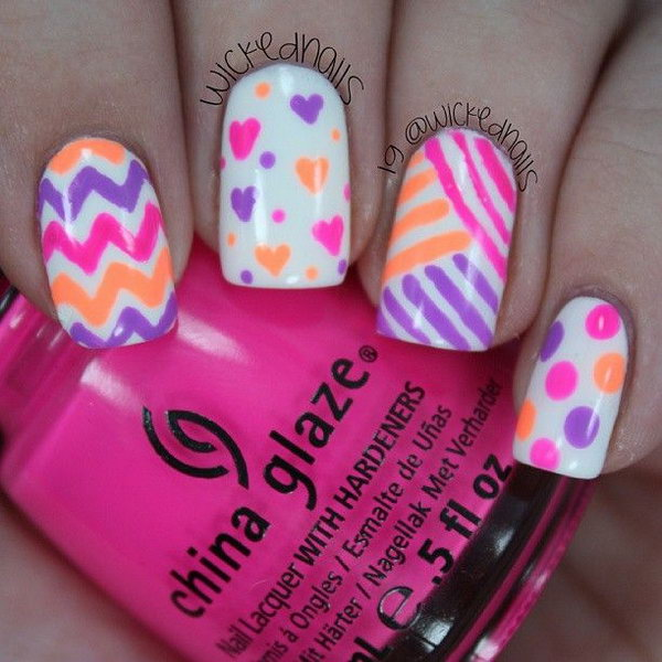 Patterned Neon Nail Designs.