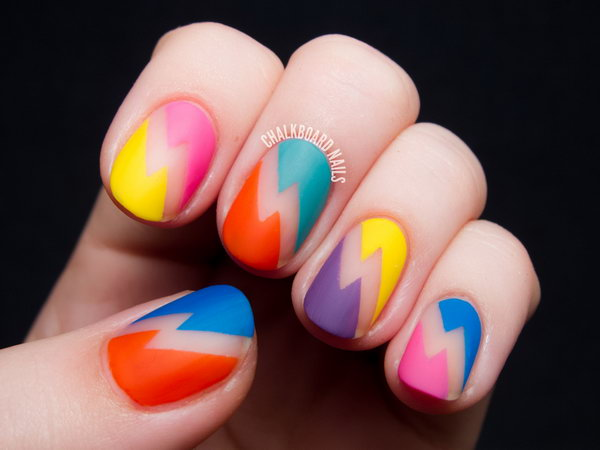 Bold Bolts Neon Nail Designs. Get the tutorial