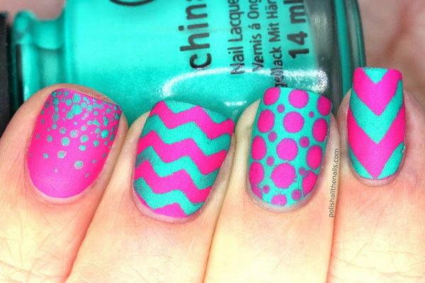 Wavy Neon Nails.