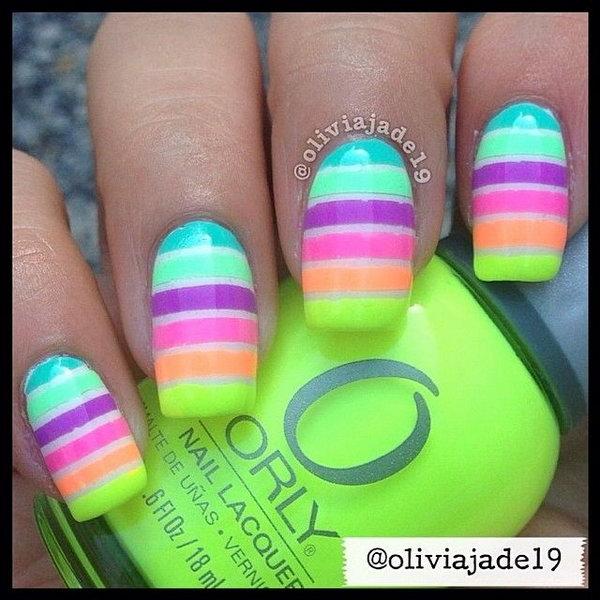 Big Strip Neon Nails.