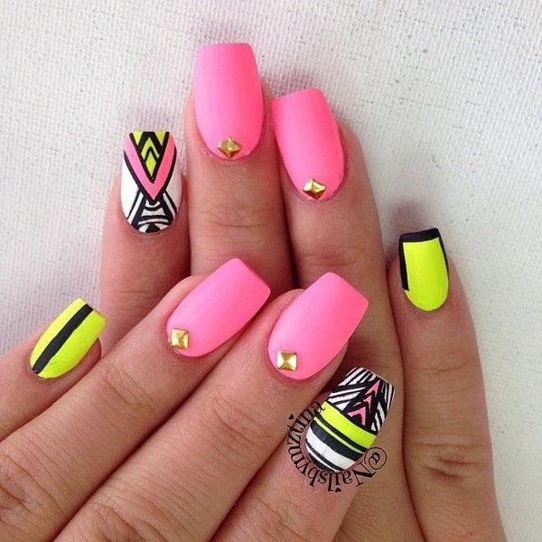 Tribal and Studded Neon Nail.