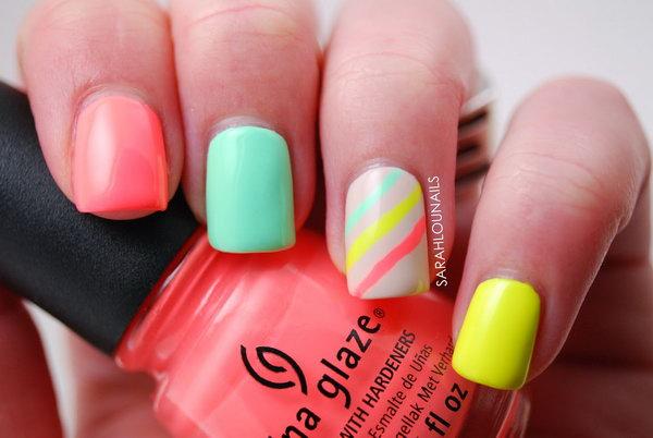 Neon Strip Nail Designs. See the steps