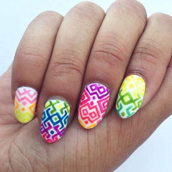 Geometric Neon Nails.