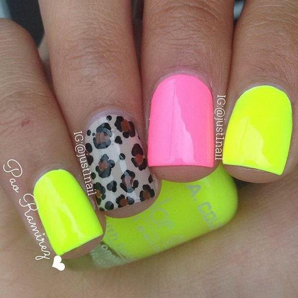 Neon and Cheetah Accent Nail Designs.