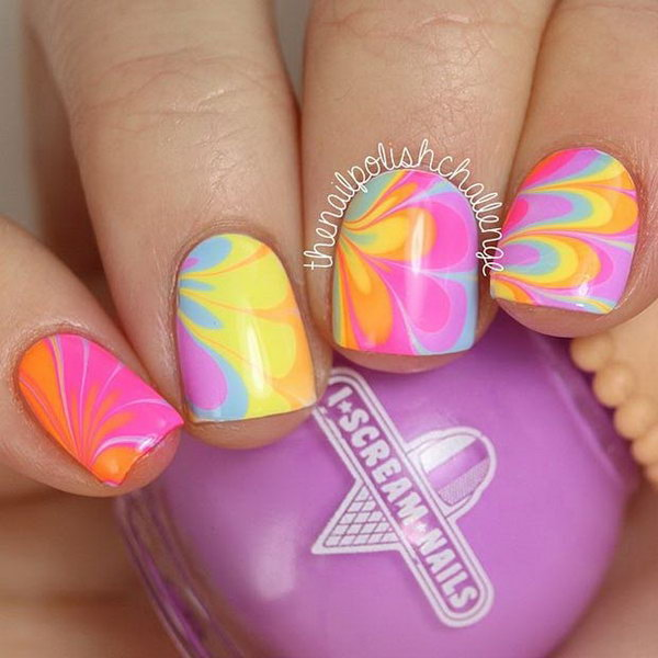 Water Marble Neon Nails.