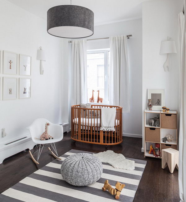 Nursery in White and Natural Wood.