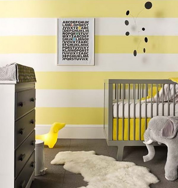 Yellow Stripes Wall for Nursery.