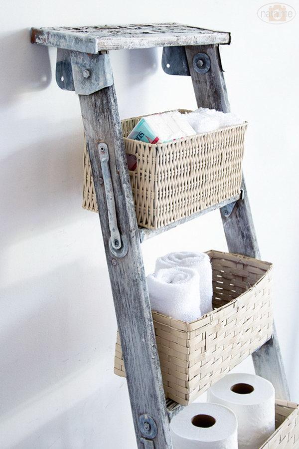 DIY Basket Ladder Storage.