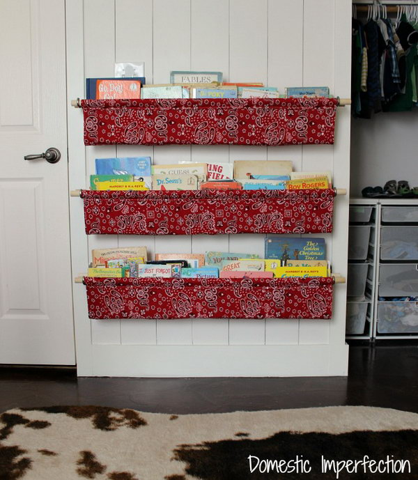 DIY Book Slings with Cloth and Wooden Dowels. See how to make it