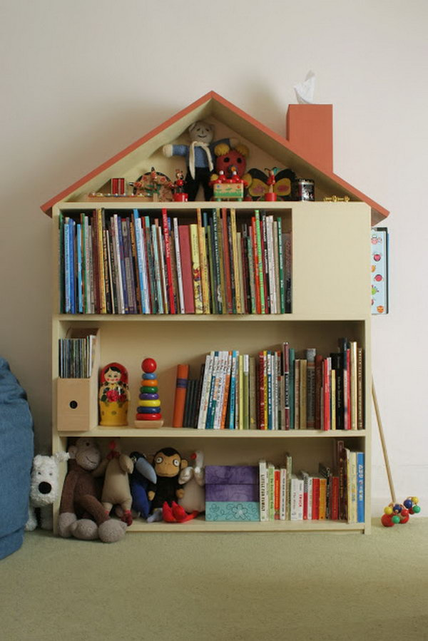 House Bookcase Made with Plywood.