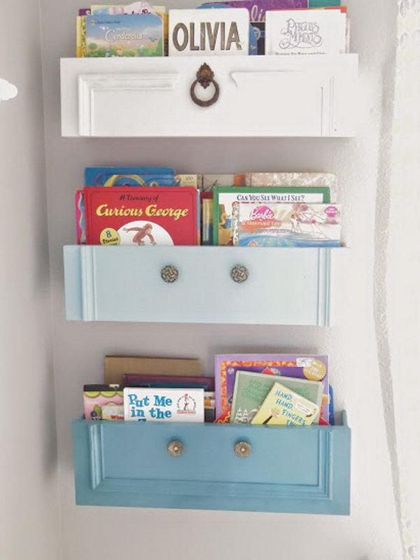 Upcycled Dresser Drawers as Bookshelves.