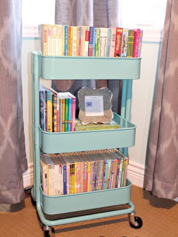 Ikea Raskog Cart Used as Book Storage.