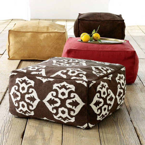 Bean bag Cube Poufs. See the full tutorial