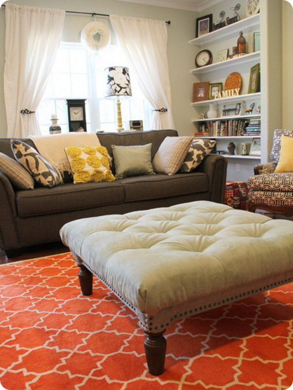 DIY Tufted Ottoman. Get the tutorial